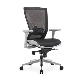 Alpha office chair with white nylon frame, mesh backrest and adjustable height