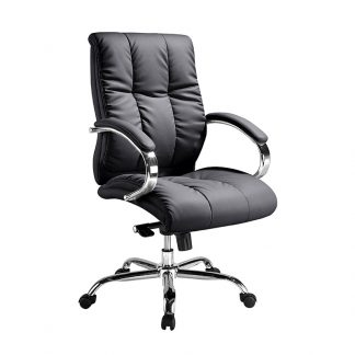 black padded luxury office chair from Alpha Industries