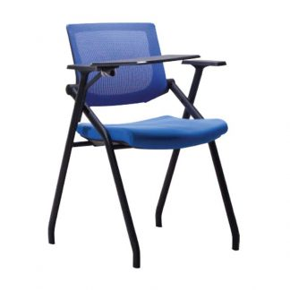 Blue chair with a mini table attached by Alpha