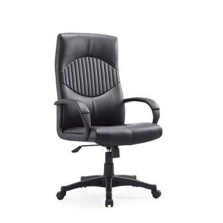Black Adjustable Alpha Leather chair with armrests
