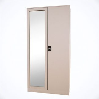 Enamel coated Hawana wardrobe with a full-length mirror, lock, coat hanger and a built-in drawer