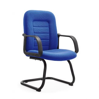 Alpha chair with black chrome frame and armrest, tapestry fabric upholstery for seating and backrest