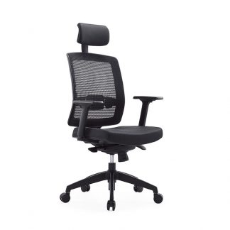 Alpha office chair with adjustable height, headrest, mesh backrest, foam seating and wheels