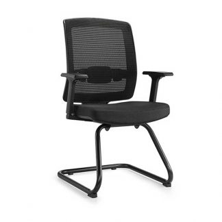 Alpha chair with arms, chrome frame, mesh backrest and foam seating