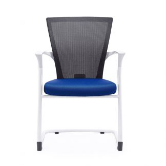 Alpha single chair with white nylon frame, mesh backrest and soft fabric seating