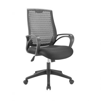 Alpha office chair with black plastic cover, mesh fabric seating, black armrest, adjustable height and wheels.