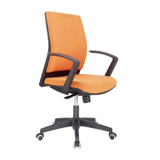 Orange office chair with a black nylon frame by Alpha