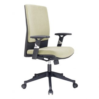 Alpha office chair with fabric padded seating and backrest, armrest, adjustable height and wheels.