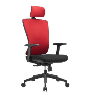 Alpha office chair with fabric backrest and headrest, foam seating, adjustable pole base with wheels