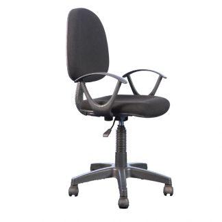 Clerical chair with a nylon base, 5 castors, fabric seating and backrest, arms and adjustable height by Alpha Industries
