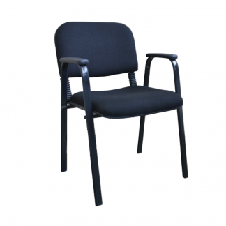 Visitor chair by Alpha Industries with squared steel legs, arms, fabric seating and backrest