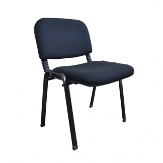 Fabric visitor chairs with square steel legs and no arms by Alpha Industries