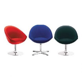 Three colourful accent chairs with fabric upholstery with pole base by Alpha Industries