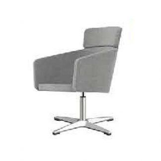 Fabric designer chair with aluminium base, soft seating, backrest, armrest and headrest