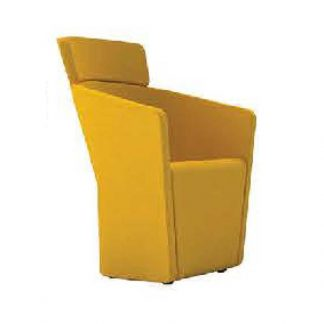 Yellow designer chair with fabric arms and soft seating by Alpha