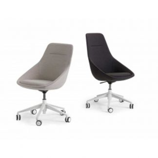 Single seater fabric accent chair with no arms, adjustable height and wheels