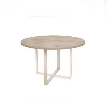 Alpha round meeting table with a powder-coated steel base