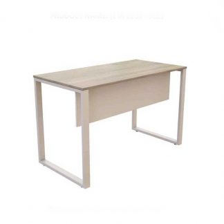 Wooden Workstation with a white powdered coated steel base by Alpha