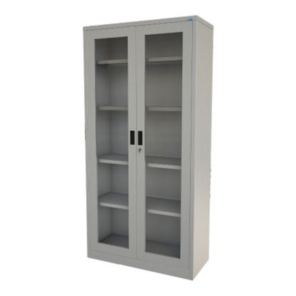 Steel library cupboard with glass doors, shelves and keyhole by Alpha Industries