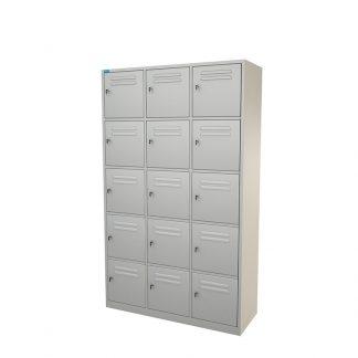 Grey workmen locker with 15 units from Alpha
