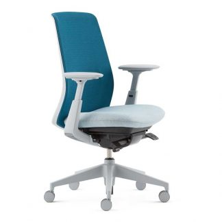 Branded SOJI office chair with fabric seating and backrest, fixed arms, adjustable height and wheels