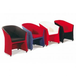 Four single-seaters with fabric seating, armrest, backrest and four wheels