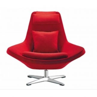 Red designer chair with pole base, fabric seating, backrest, headrest, armrest, cushion and neck pillow