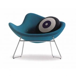 Armless fabric accent chair with round cushion and L-shaped aluminium legs by Alpha