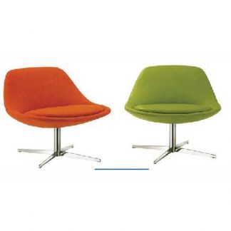Colourful accent single-seaters with soft seating and pole base