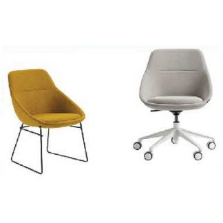 Fabric single-seater accent chairs with chrome frame and wheels