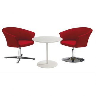 Alpha red accent chairs with pole base and fabric upholstery and silver coffee table