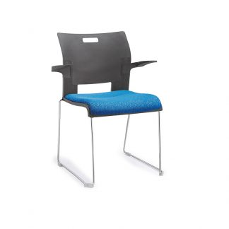 Alpha single-seater with chrome frame, soft fabric seating, plastic backrest and armrest.