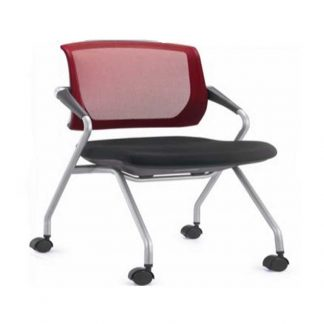 Single chair with wheels, armrest, fabric soft seating and backrest by Alpha Industries