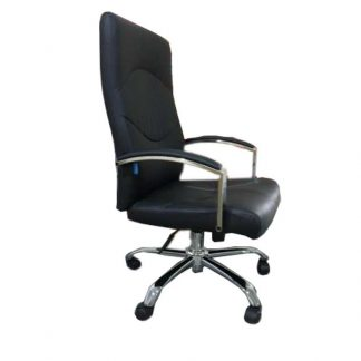Alpha Black leather office chair with armrests