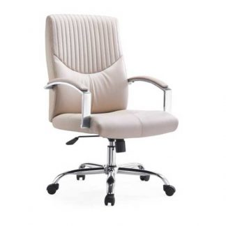 Beige luxury office chair with padded armrests from Alpha Industries