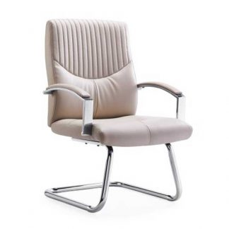 Beige leather chair with padded armrests from Alpha