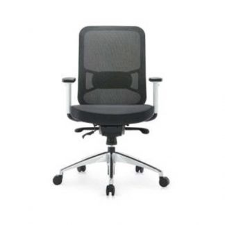 Office chair with padded fabric seat, mesh backrest, adjustable height and wheels