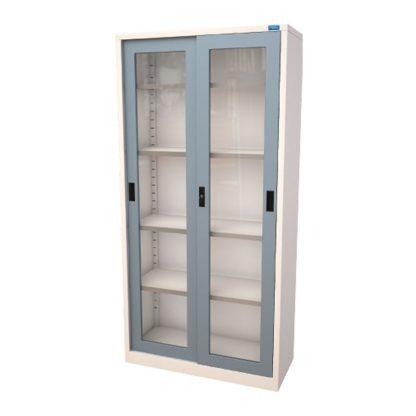 Alpha Sahara Glass Sliding Cupboard with a powder-coated finish