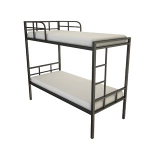 Alpha standard bunk bed with plywood base, black frame, two mattresses and an attached ladder