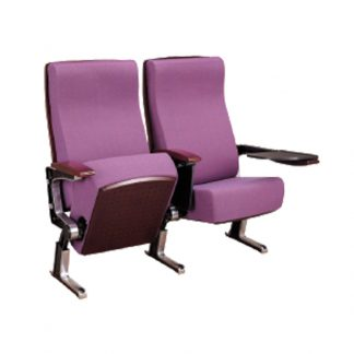 Linked foldable and recliner fabric theatre seats with armrest and steel base