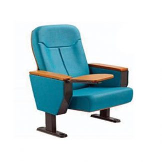 Blue fabric chair with wooden armrests by Alpha Sri Lanka