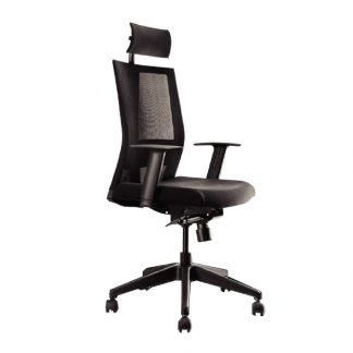 Pulse high back chair with fabric seating, mesh backrest, adjustable neck rest and height