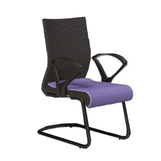 Pulse Visitor Chair by Alpha Industries with chrome frame, soft seating, recline lock and adjustable armrest and backrest.